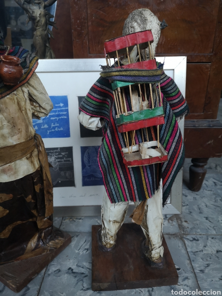 Arte: Pareja de figuras artesanales en papel mache. Xalisco, México. 50cm - Foto 7 - 184273905