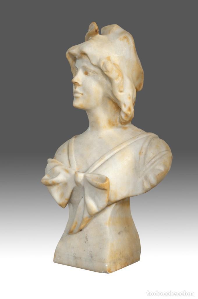 Arte: Busto femenino. Mármol. Siglo XX. - Foto 3 - 185966726
