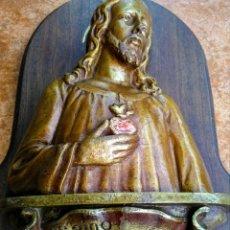 Arte: CORAZÓN DE JESÚS SOBRE TABLA. Lote 189585432