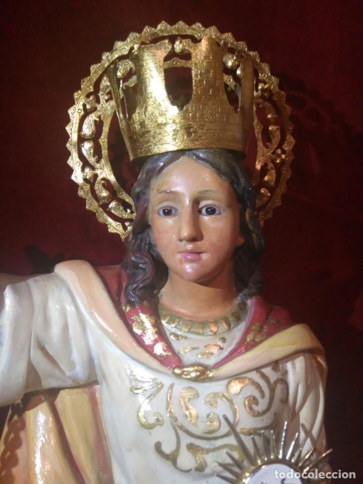 Arte: Magnífica y bellísima escultura de imagen religiosa de Santa Bárbara, posiblemente Olot. - Foto 7 - 189716415