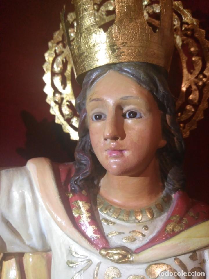 Arte: Magnífica y bellísima escultura de imagen religiosa de Santa Bárbara, posiblemente Olot. - Foto 8 - 189716415