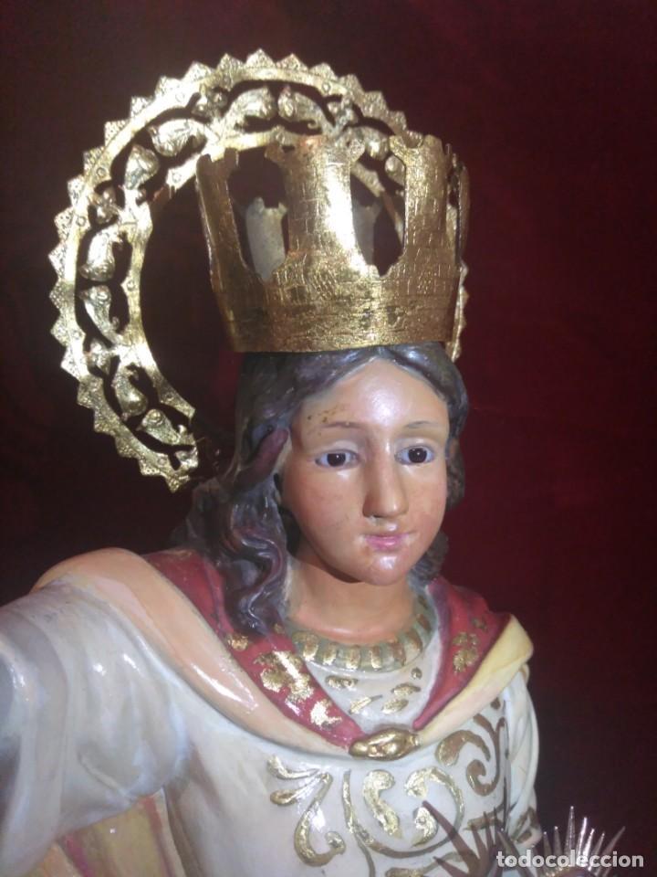 Arte: Magnífica y bellísima escultura de imagen religiosa de Santa Bárbara, posiblemente Olot. - Foto 36 - 189716415