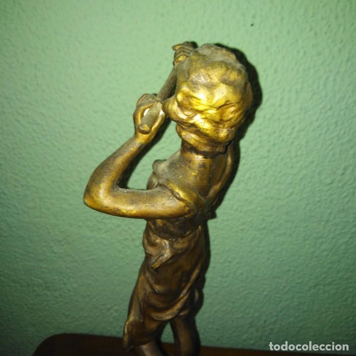 Arte: Antigua Escultura de calamina Art Nouveau, siglo xix - Foto 4 - 189890836