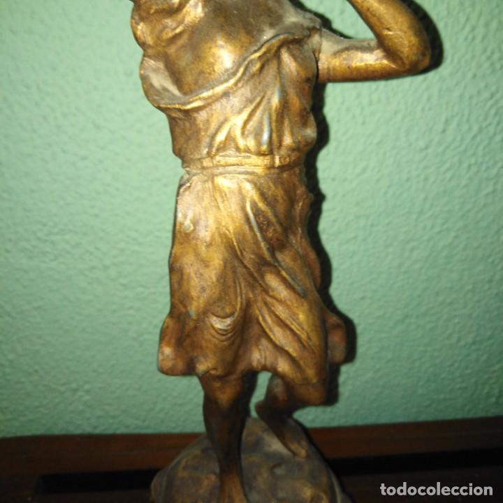Arte: Antigua Escultura de calamina Art Nouveau, siglo xix - Foto 5 - 189890836