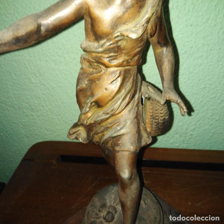Arte: Antigua Escultura de calamina Art Nouveau siglo xix - Foto 3 - 189892006