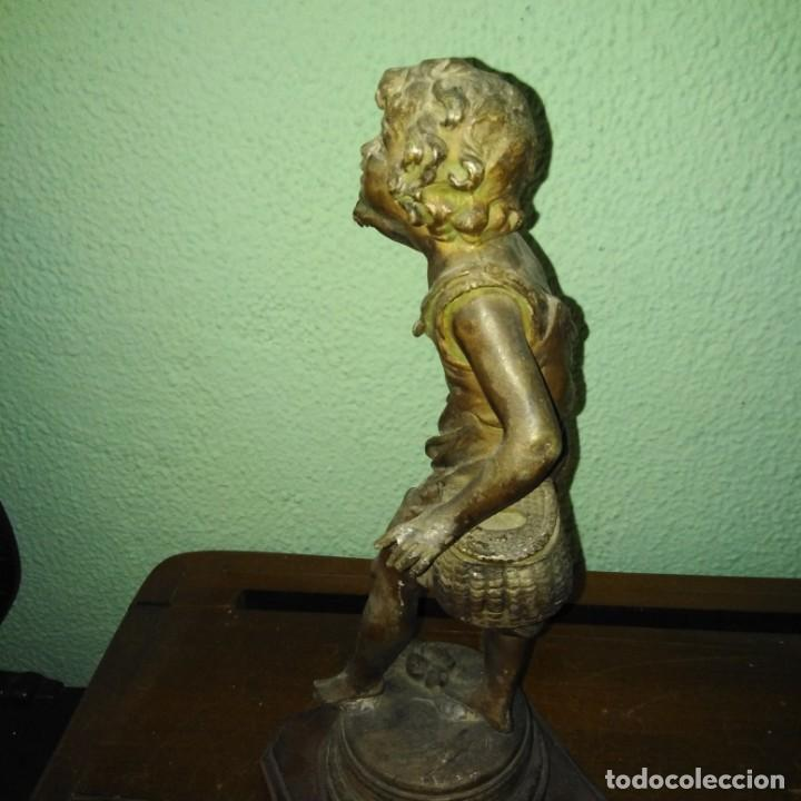 Arte: Antigua Escultura de calamina Art Nouveau siglo xix - Foto 6 - 189892006