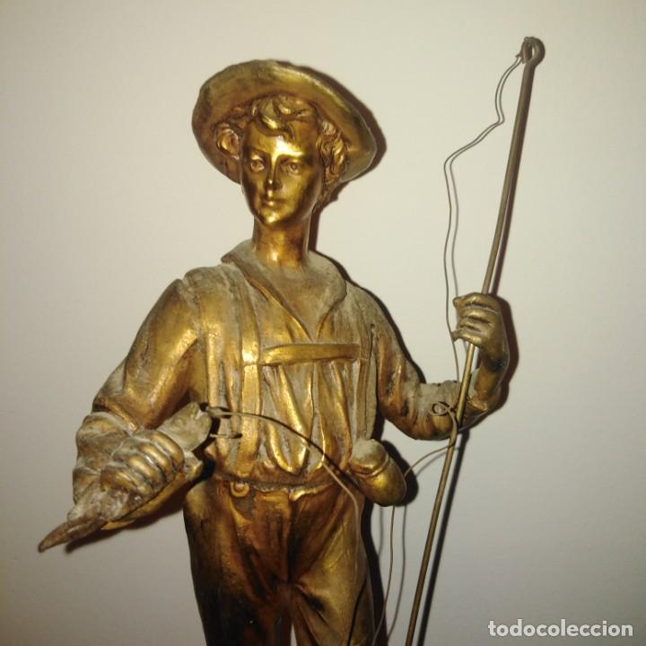 Arte: Antigua Escultura Art Nouveau de calamina dorada al mercurio, siglo xix - Foto 4 - 190450402