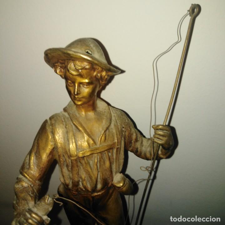 Arte: Antigua Escultura Art Nouveau de calamina dorada al mercurio, siglo xix - Foto 5 - 190450402