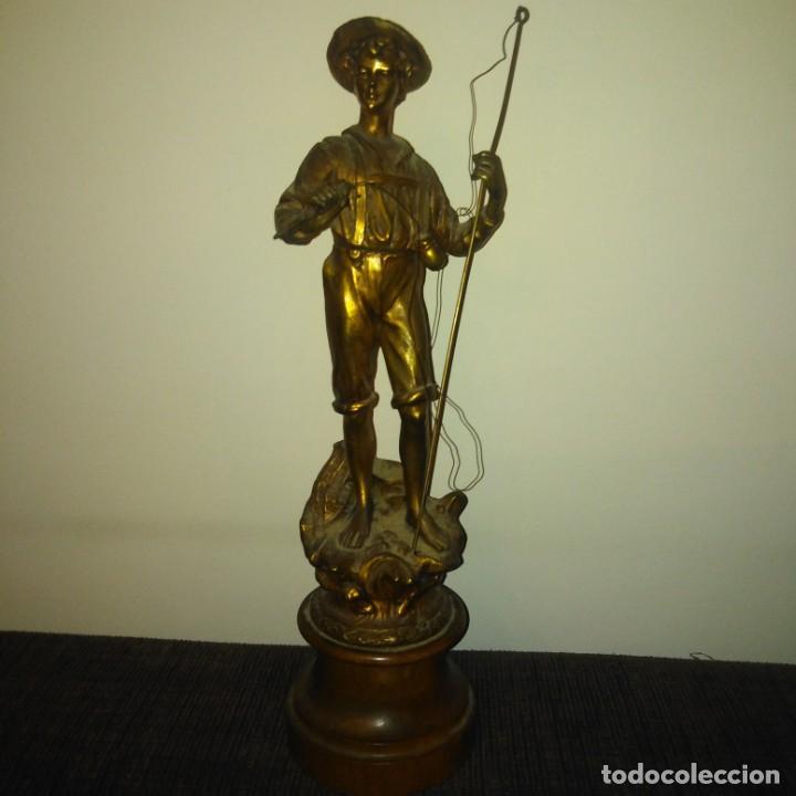 Arte: Antigua Escultura Art Nouveau de calamina dorada al mercurio, siglo xix - Foto 12 - 190450402
