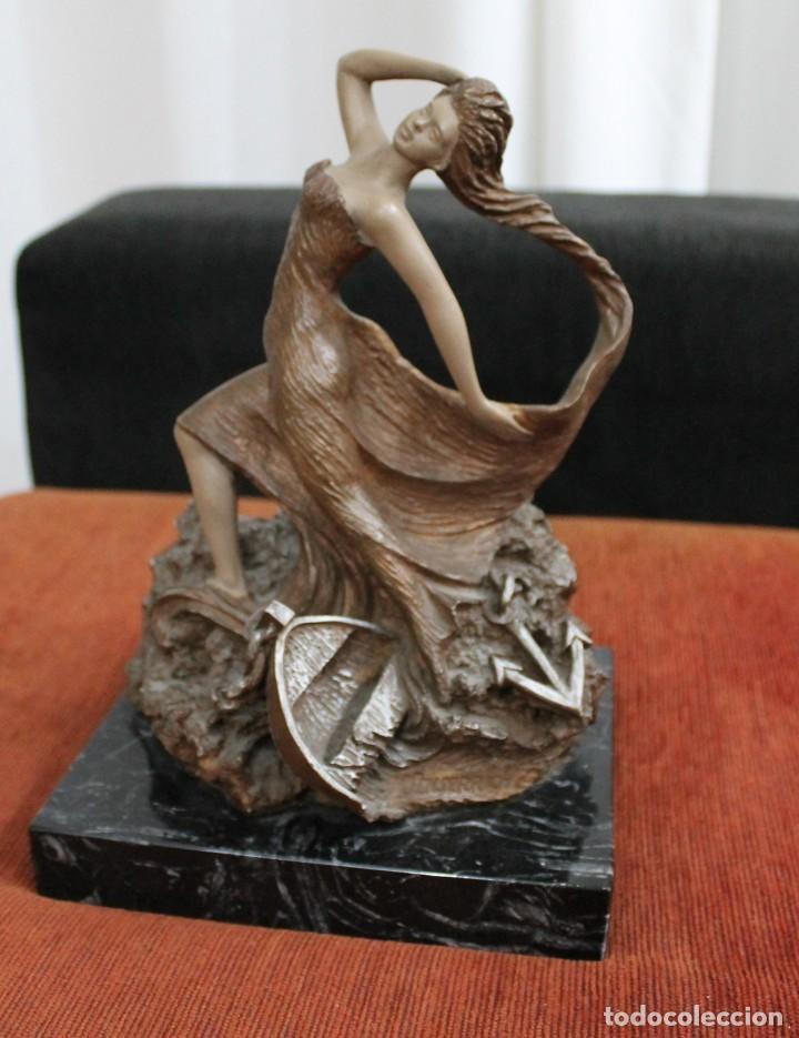 ESCULTURA MIGUEL SENSERRICH PEANA MARMOL NEGRO VETEADO (Arte - Escultura - Otros Materiales)