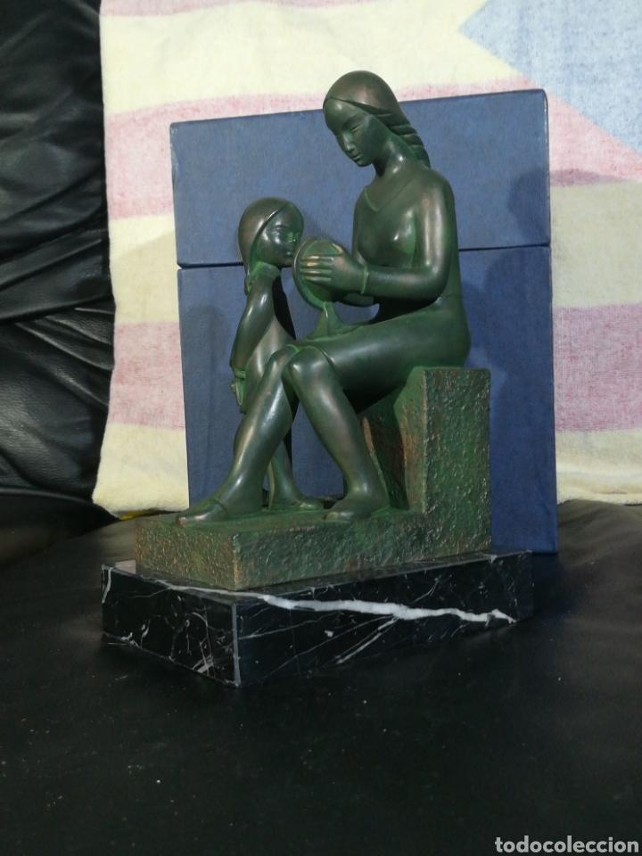 ESCULTURA MARIANO AMAYA L ESTALVI AL MON 34 CM SE ALTO BASE DE MARMOL (Arte - Escultura - Otros Materiales)