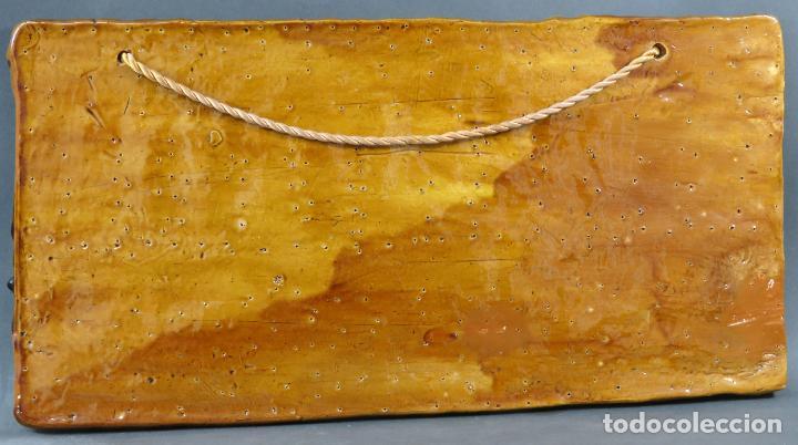 Arte: Placa relieve Última Cena en barro cocido vidriado Rosa Ramalho firmado en el frente siglo XX - Foto 9 - 194489131