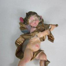 Arte: ANGELITO - ÁNGEL QUERUBÍN MÚSICO - YESO, ESCAYOLA POLICROMADA Y DORADA. Lote 195205043