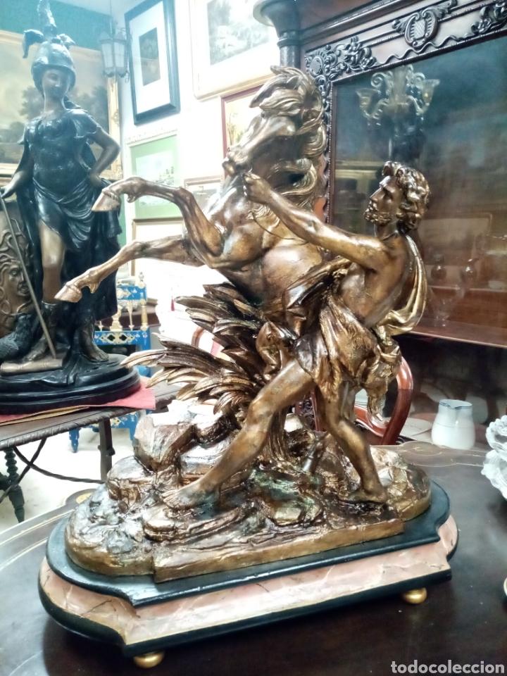 Arte: Escultura 70 cm calamina caballo de Marly, modelos de Guillaume Coustou - Foto 2 - 193325713