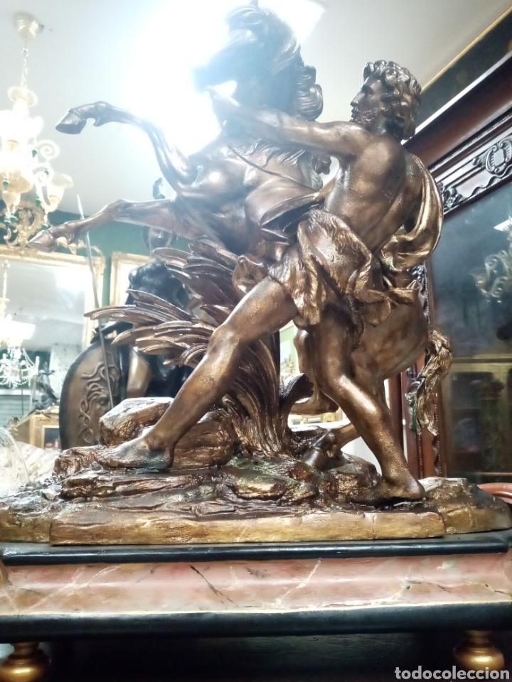 Arte: Escultura 70 cm calamina caballo de Marly, modelos de Guillaume Coustou - Foto 6 - 193325713