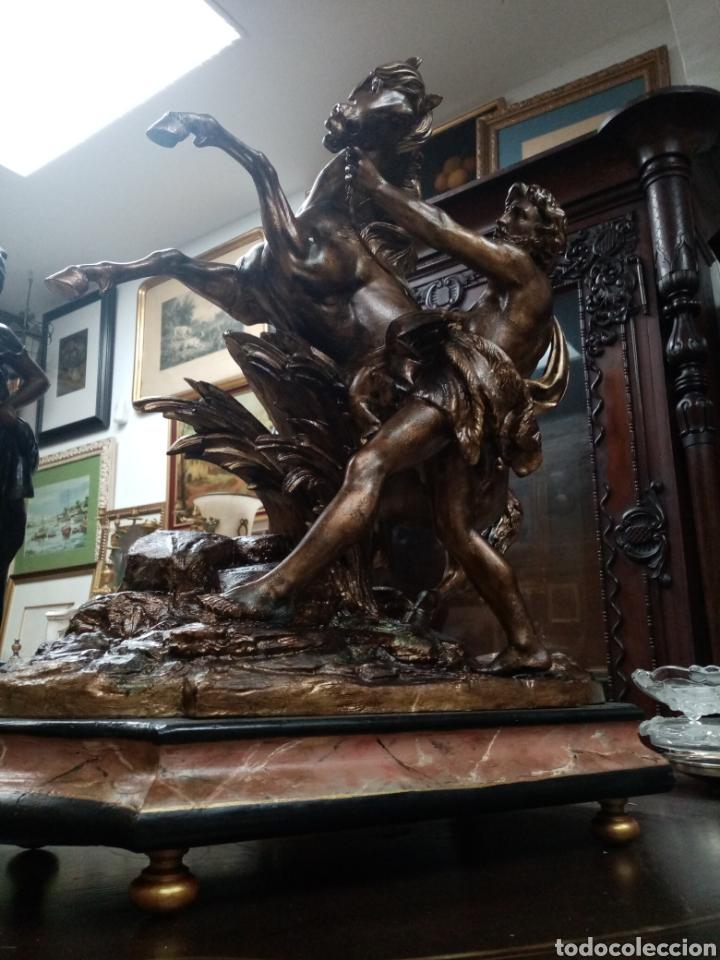 Arte: Escultura 70 cm calamina caballo de Marly, modelos de Guillaume Coustou - Foto 7 - 193325713