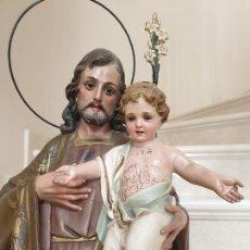 Arte: PRECIOSO SAN JOSE CON EL NIÑO JESUS EN PASTA MADERA DE OLOT,(GIRONA). Lote 210151505