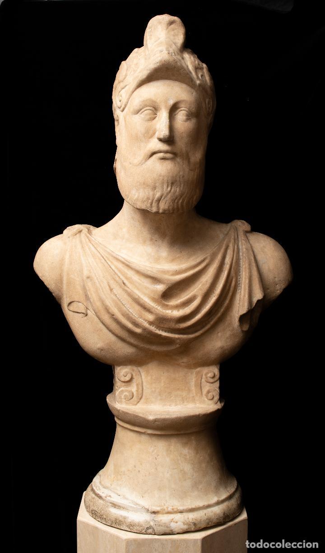 Arte: Busto de mármol representando a Ares dios de la guerra escuela italiana siglo XVII - Foto 5 - 213311538