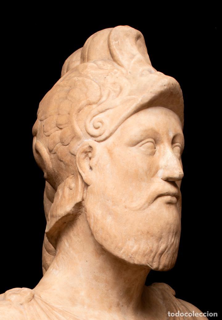 Arte: Busto de mármol representando a Ares dios de la guerra escuela italiana siglo XVII - Foto 2 - 213311538