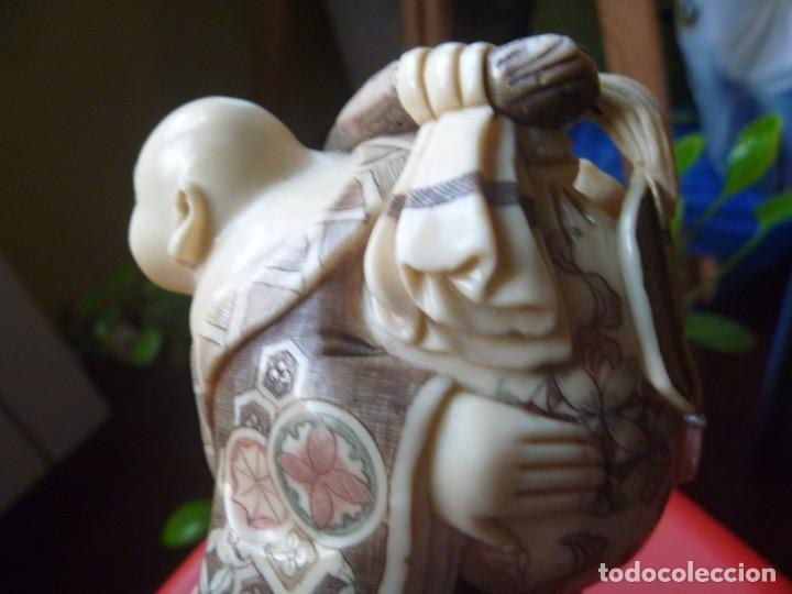 Arte: PRECIOSO BUDA SONRIENTE FELICIDAD PEREGRINO FIGURA MUY DECORATIVA ARTE ASIÁTICO - Foto 8 - 213912953