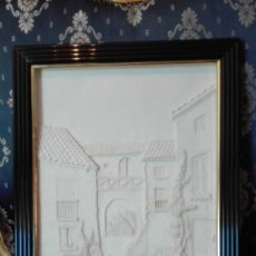 Arte: PAISAJE DE CASAS EN RELIEVE DE PASTA SINTÉTICA TIPO ALABASTRINA FIRMADO NUMA. Lote 215102948