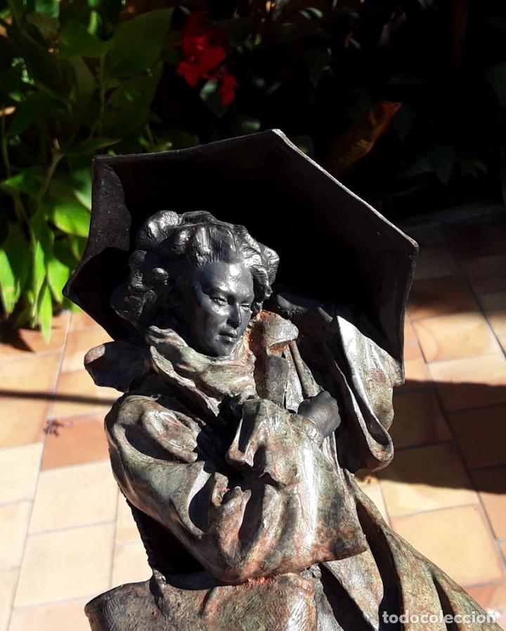 Arte: Escultura patinada bronce de ANTONI MIRO. Mujer contra la tempestad. INVERART. - Foto 3 - 215650033