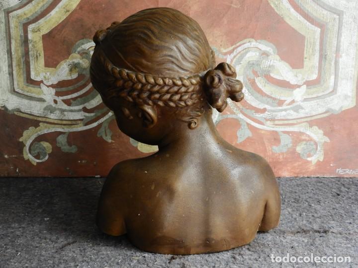 Arte: BONITO BUSTO ANTIGUO DE UNA NIÑA EN ESTUCO COLOREADO - Foto 4 - 217486898