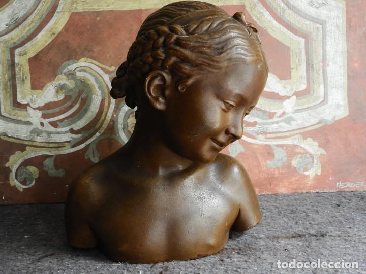 Arte: BONITO BUSTO ANTIGUO DE UNA NIÑA EN ESTUCO COLOREADO - Foto 8 - 217486898
