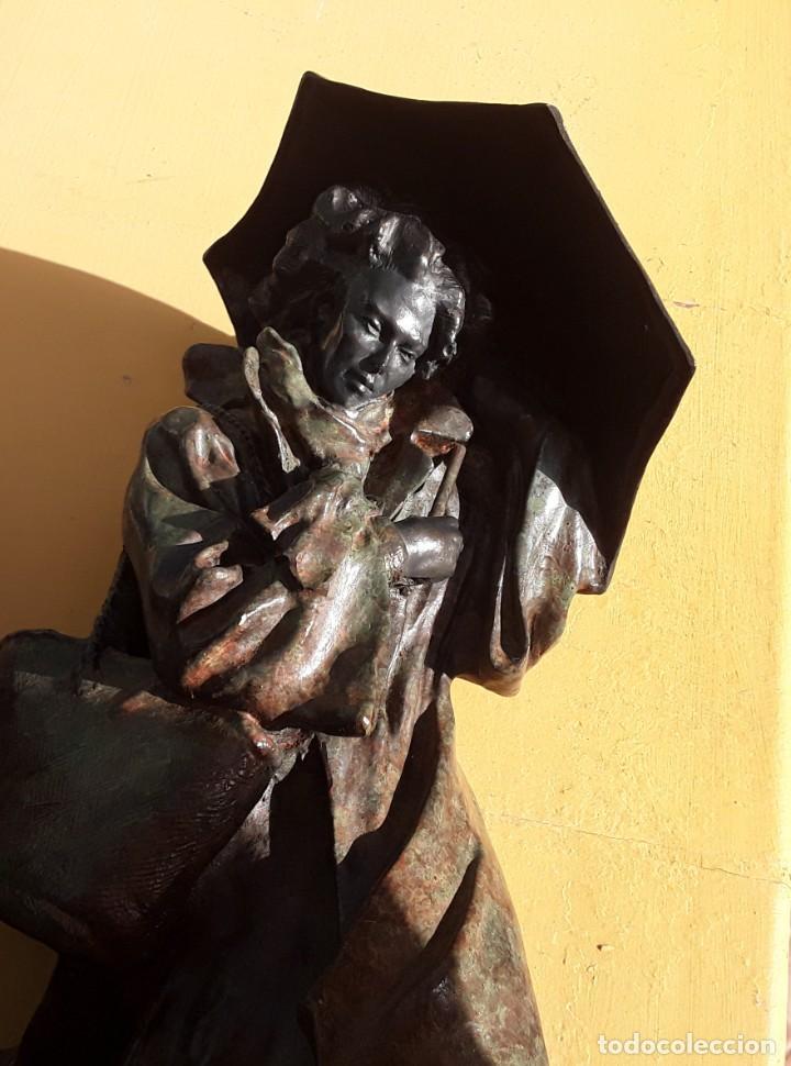 Arte: Escultura patinada bronce de ANTONI MIRO. Mujer contra la tempestad. INVERART. - Foto 2 - 215650033