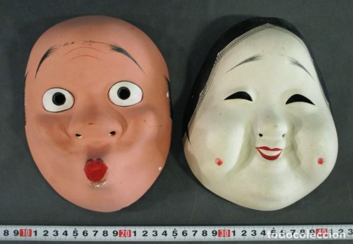 MASCARA RITUAL JAPONESA HYOTOKO Y OKAME (Arte - Escultura - Otros Materiales)