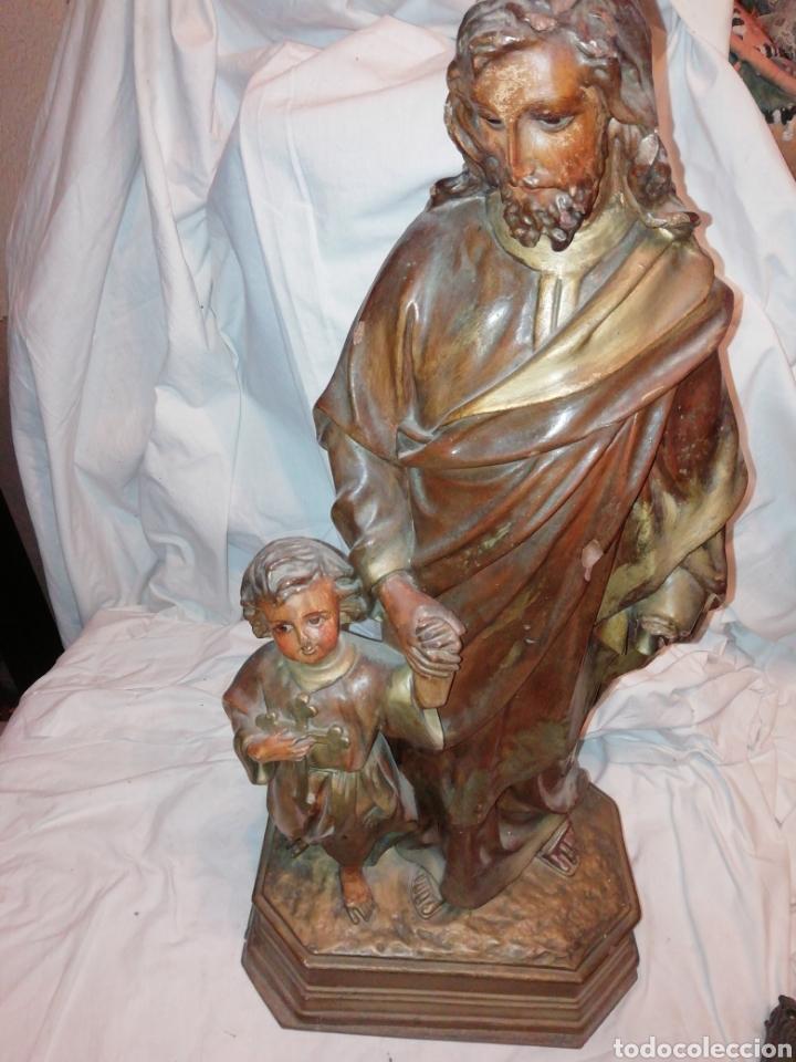 SAN JOSE CON NIÑO EN ESTUCO GRAN TAMAÑO (Arte - Escultura - Otros Materiales)