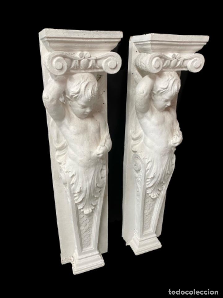 Arte: Antiguo ángel, atlante, columna, ménsula, repisa. 130x30x20 cariátide - Foto 2 - 226810965