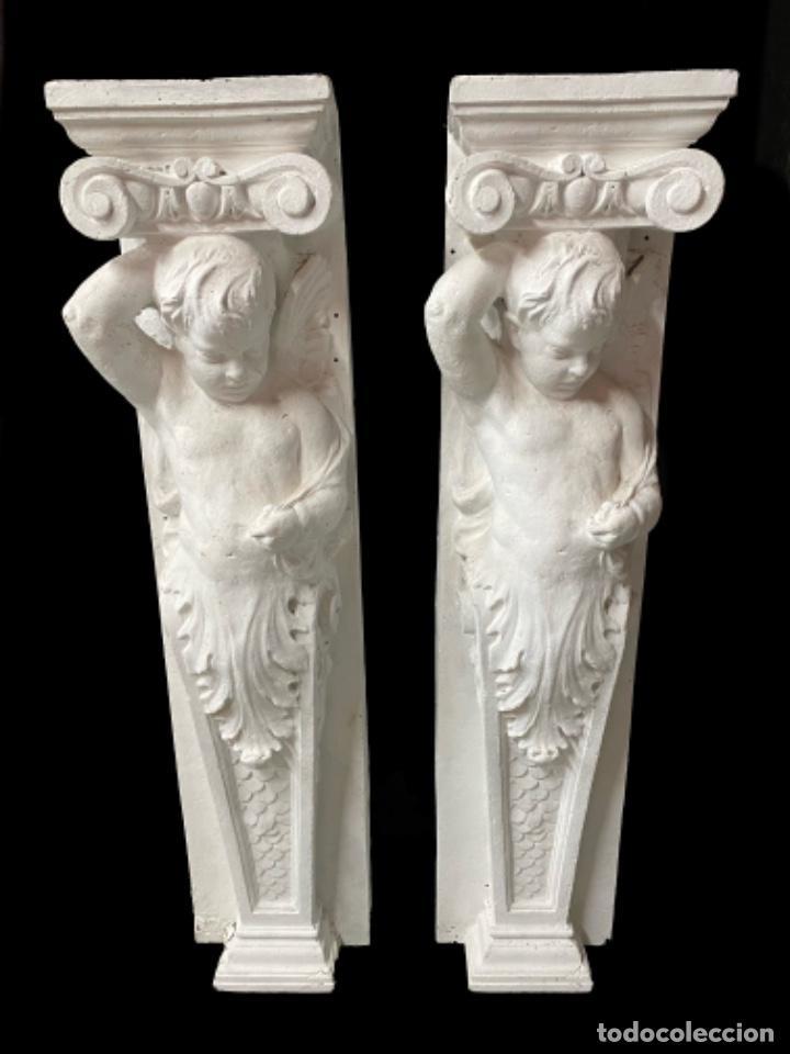 ANTIGUO ÁNGEL, ATLANTE, COLUMNA, MÉNSULA, REPISA. 130X30X20 CARIÁTIDE (Arte - Escultura - Otros Materiales)
