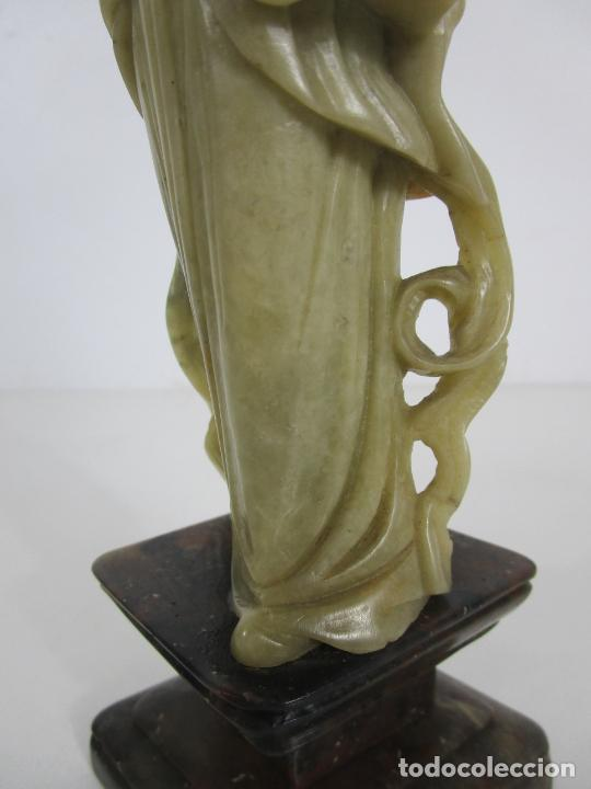 Arte: Antigua Figura Oriental Geisha - Escultura en Jade - Altura 25 cm - Foto 3 - 228090135
