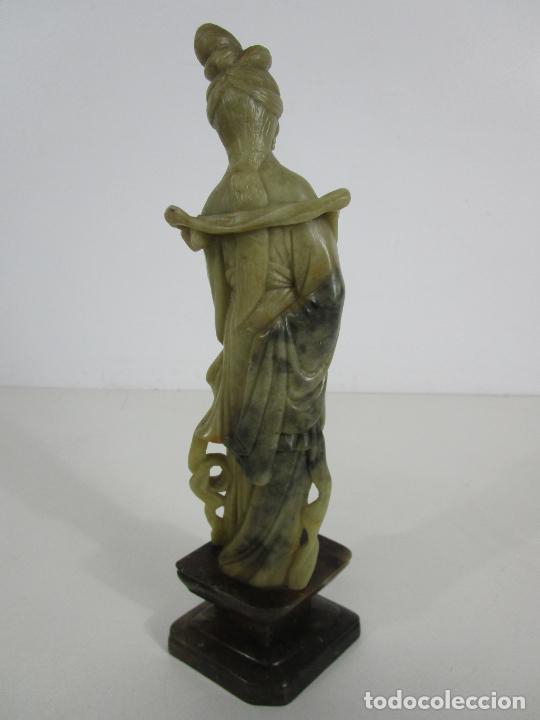 Arte: Antigua Figura Oriental Geisha - Escultura en Jade - Altura 25 cm - Foto 10 - 228090135