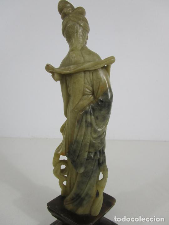 Arte: Antigua Figura Oriental Geisha - Escultura en Jade - Altura 25 cm - Foto 12 - 228090135