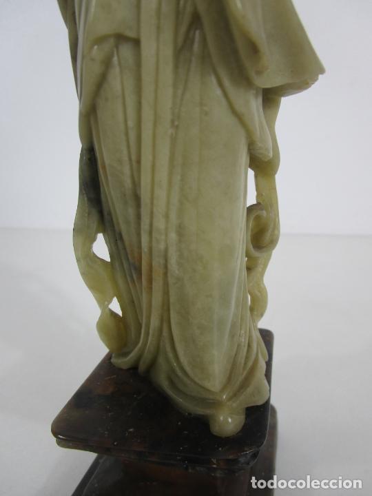 Arte: Antigua Figura Oriental Geisha - Escultura en Jade - Altura 25 cm - Foto 18 - 228090135