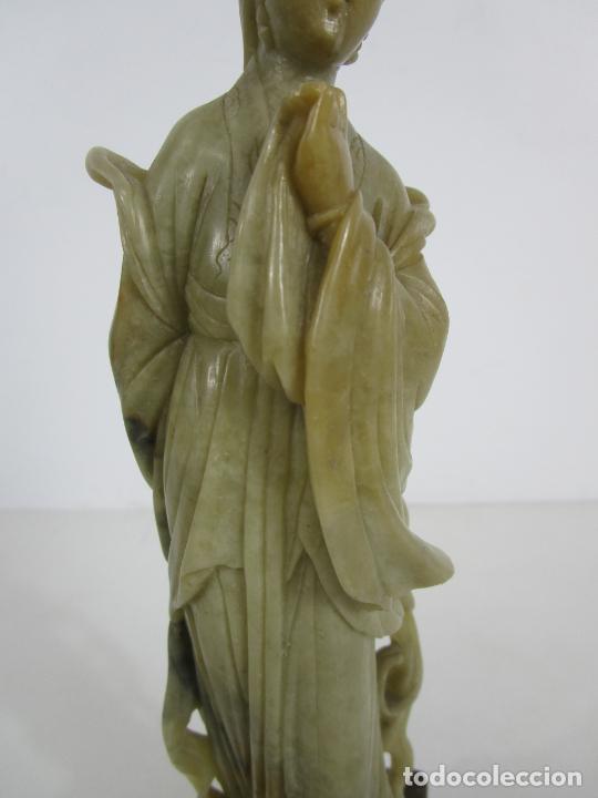 Arte: Antigua Figura Oriental Geisha - Escultura en Jade - Altura 25 cm - Foto 19 - 228090135
