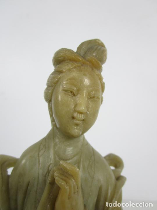 Arte: Antigua Figura Oriental Geisha - Escultura en Jade - Altura 25 cm - Foto 20 - 228090135