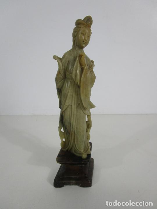 Arte: Antigua Figura Oriental Geisha - Escultura en Jade - Altura 25 cm - Foto 21 - 228090135