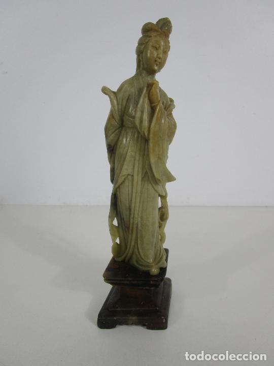 Arte: Antigua Figura Oriental Geisha - Escultura en Jade - Altura 25 cm - Foto 24 - 228090135
