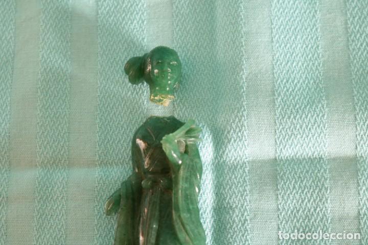Arte: Fina figura oriental de jade. Fine oriental jade figure - Foto 3 - 80292485