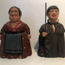 Arte: ANTIGUA PAREJA DE LOS GIGANTILLOS DE BURGOS. PINTADOS A MANO DE TERRACOTA.. Lote 235093235