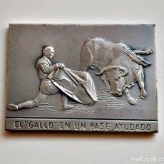 Arte: CUADRO TIPO LINGOTE GOYA SIMIL (DOBLE CARA) EL GALLO EN UN PASE Y EL VARILARGUERO - 63.12.GR.. Lote 240228155