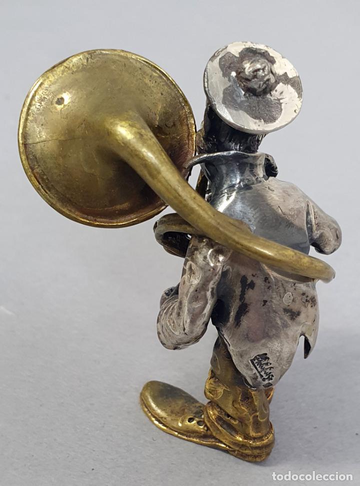 Arte: Miniatura payaso músico con trombón en plata y metal de Vittorio Angini segunda mitad del siglo XX - Foto 2 - 241049440