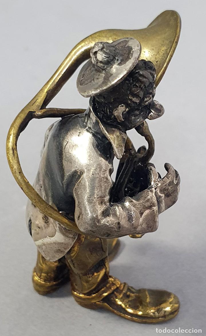 Arte: Miniatura payaso músico con trombón en plata y metal de Vittorio Angini segunda mitad del siglo XX - Foto 3 - 241049440