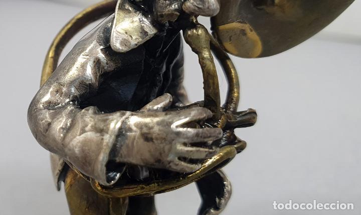 Arte: Miniatura payaso músico con trombón en plata y metal de Vittorio Angini segunda mitad del siglo XX - Foto 4 - 241049440