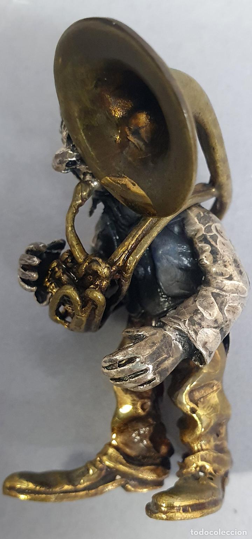 Arte: Miniatura payaso músico con trombón en plata y metal de Vittorio Angini segunda mitad del siglo XX - Foto 6 - 241049440