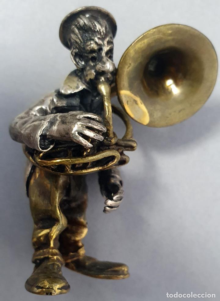 Arte: Miniatura payaso músico con trombón en plata y metal de Vittorio Angini segunda mitad del siglo XX - Foto 7 - 241049440