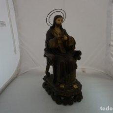 Arte: IMPRESIONANTE Y RARO SAGRADO CORAZON DE JESUS - PASTA DE MADERA - SENTADO EN SILLA - 40CM APROX. Lote 241190650